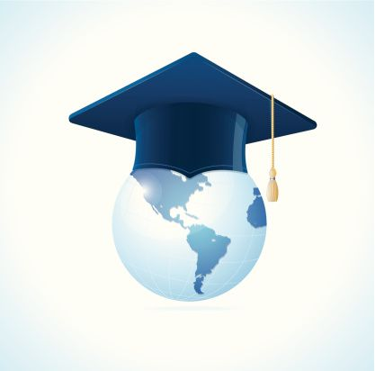Vector Earth planet with graduation cap