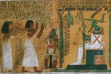 Dos personajes ante Osiris