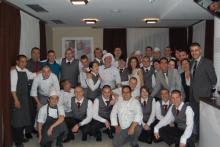 Alumnos y equipo de Hrc Culinary Academy en el Resaturante Escuela Talents, Sofia.