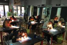 Alumnos del curso de Tatuaje en MS Escuela Profesional de Tatuaje sede Madrid.